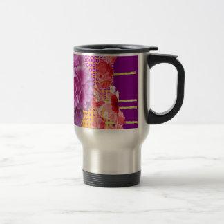 pink peony purple floral art travel mug