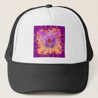 pink peony purple floral art trucker hat