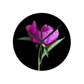 pink-peony round clock