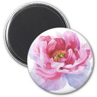 Pink Peony Round Magnet