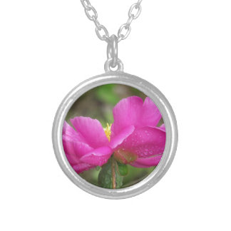 Pink Peony Silver Plated Necklace