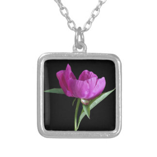 pink-peony silver plated necklace