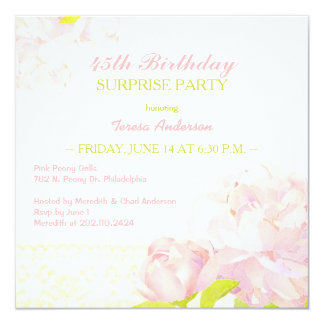 Pink Peony Surprise Birthday Party Card