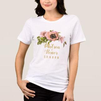 Pink Peony Swag Maid/Matron of Honor Name ID456 T-Shirt