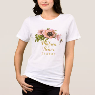 Pink Peony Swag Maid/Matron of Honour Name ID456 T-Shirt