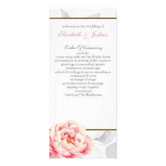 Pink Peony Tea length wedding programs