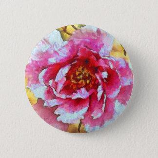 Pink Peony Van Gogh Style 2 Inch Round Button
