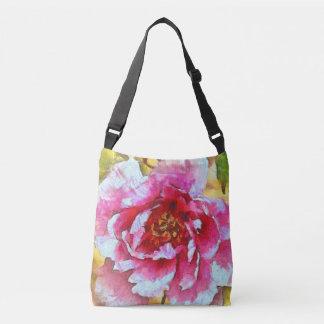 Pink Peony Van Gogh Style Crossbody Bag