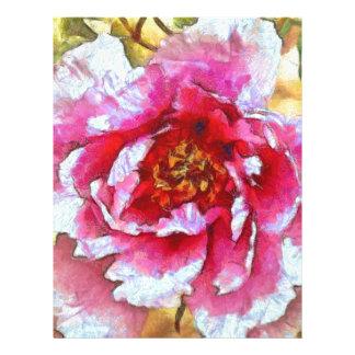 Pink Peony Van Gogh Style Letterhead
