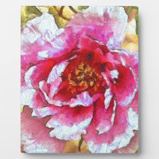 Pink Peony Van Gogh Style Plaque