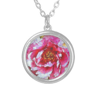 Pink Peony Van Gogh Style Silver Plated Necklace