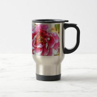 Pink Peony Van Gogh Style Travel Mug