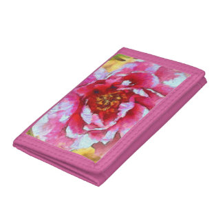 Pink Peony Van Gogh Style Tri-fold Wallet