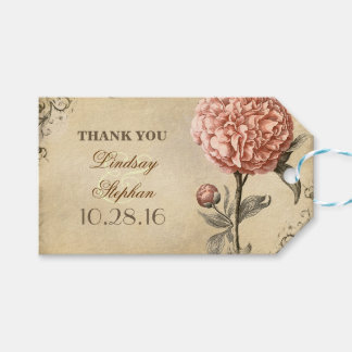 Pink Peony Vintage Wedding Pack Of Gift Tags