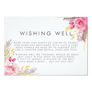 Pink Peony Watercolor Floral Wishing Well Wedding Card