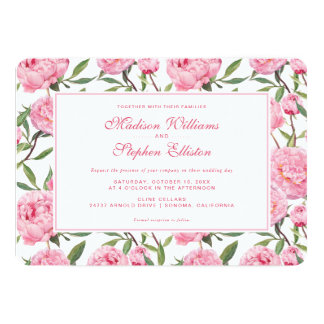 Pink Peony Watercolor Flowers - Wedding Card