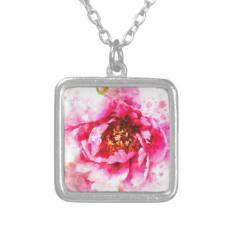 Pink Peony Watercolor Silver Plated Necklace
