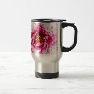Pink Peony Watercolor Travel Mug