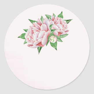 Pink Peony Wedding Favor Stickers