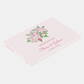 Pink Peony Wedding Guest Book