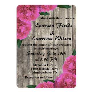 Pink Peony Wedding Invitation