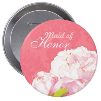 """Pink Peony Wedding Maid of Honour Buttons (4"""")"""