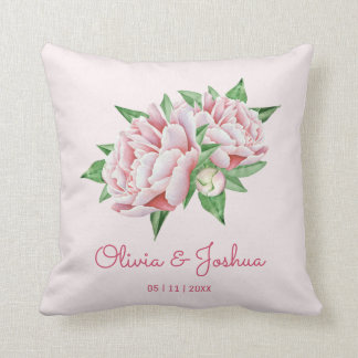 Pink Peony Wedding Throw Pillow