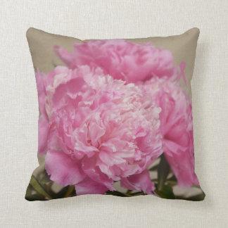 Pink Peony with Pink Ribbon Pilow Throw Pillow