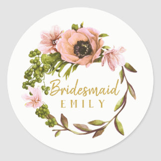 Pink Peony Wreath Bridesmaid Name ID456 Classic Round Sticker