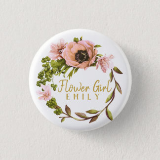 Pink Peony Wreath Flower Girl Name ID456 1 Inch Round Button