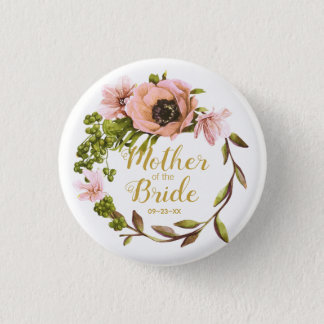 Pink Peony Wreath Mother of the Bride ID456 1 Inch Round Button