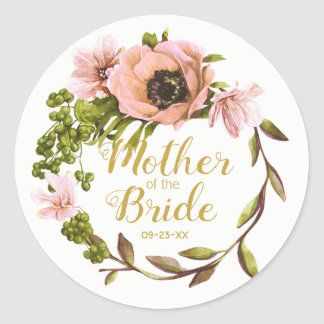 Pink Peony Wreath Mother of the Bride ID456 Classic Round Sticker