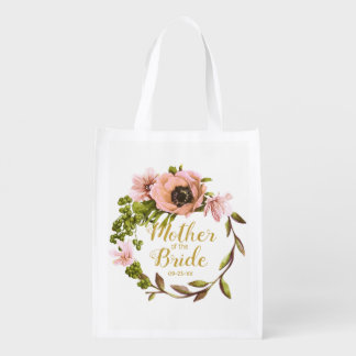 Pink Peony Wreath Mother of the Bride ID456 Reusable Grocery Bag