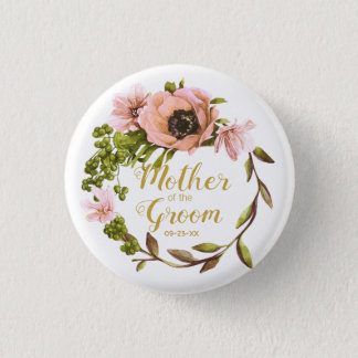 Pink Peony Wreath Mother of the Groom ID456 1 Inch Round Button