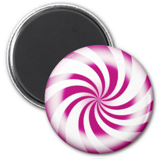 Pink Peppermint Candy Round Refrigerator Magnet
