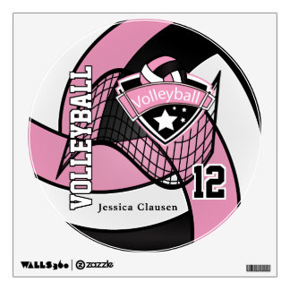 Pink Personalize Volleyball Wall Decal