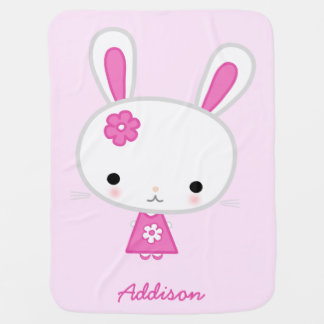 Pink Personalized Baby Blankets With Cute Bunny