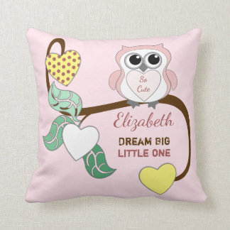 Pink Personalized baby name Owl dream big Throw Pillow