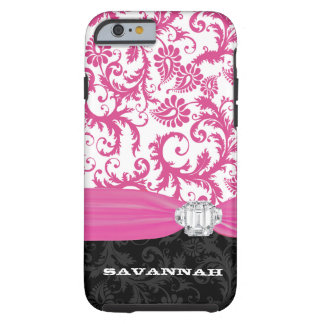 Pink Personalized Faux Rhinestone Damask iPhone Tough iPhone 6 Case