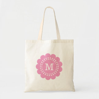 Pink Personalized Flower Monogram Tote Bag