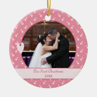 Pink Personalized Holiday First Christmas Photo Ceramic Ornament