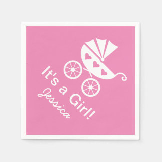 Pink personalized It's a girl baby shower napkins Paper Napkin