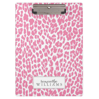 Pink Personalized Leopard Pattern Clipboard