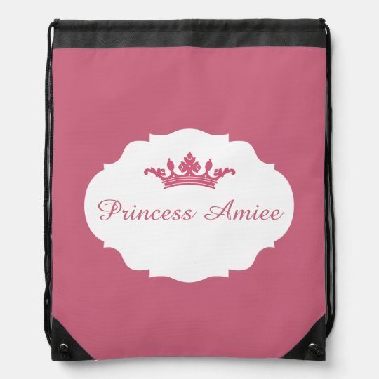 Pink Personalized Princess Cinch Bags