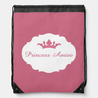 Pink Personalized Princess Drawstring Bag