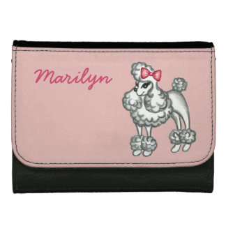 Pink Personalized Retro French Poodle Wallet Gift