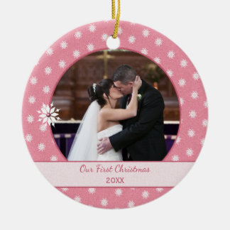 Pink Personalized snowflakes First Christmas Photo Ceramic Ornament
