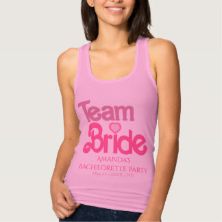 Pink personalized team bride tank top