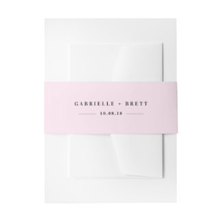 Pink Personalized Wedding Invitation Belly Band
