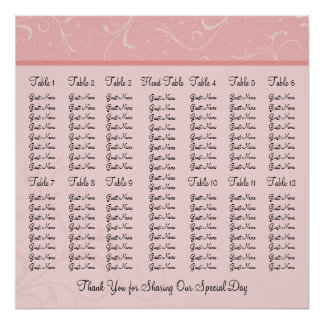 Pink Personalized Wedding Reception Seating Chart Poster